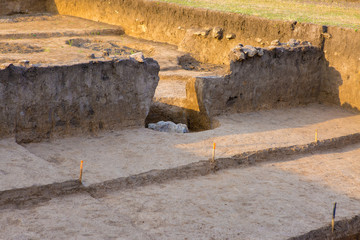 archaeological excavations, remains of the settlement, the scythians fossils
