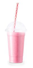 Autocollant pour porte Lait, Milk-shake strawberry smoothie in plastic glass