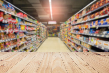 Wood floor and Supermarket blur background