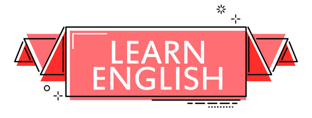 red flat line banner learn english