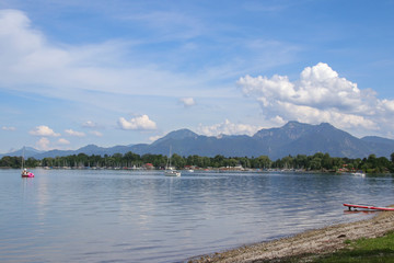 Chiemsee, Berge, Boote, Strand