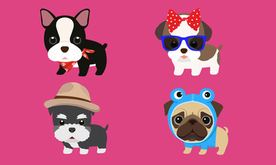 Cute puppy hat, bow tie, wearing glasses, fancy clothes, vector illustration