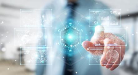 Businessman using digital screens interface with holograms datas 3D rendering