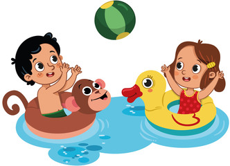 Two little kids playing in water with inflatable ball. Outdoor activity. Isolated on white. Vector illustration.