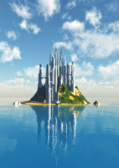 futuristic city built on an island in the middle of an alien planet, 3d illustration