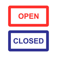 open sign and closed sign isolated vector
