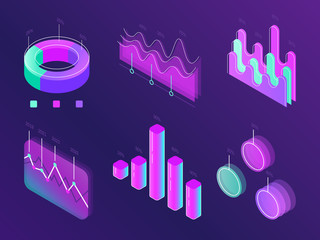 Wall Mural - Business statistic digital infographic charts. Modern isometric info graph. Perfection percent column panel for website isometric concept set