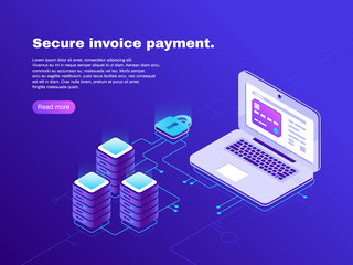 Electronic billing connection of laptop and database. Secure invoice payment. Electronics transaction bill 3d isometric vector concept