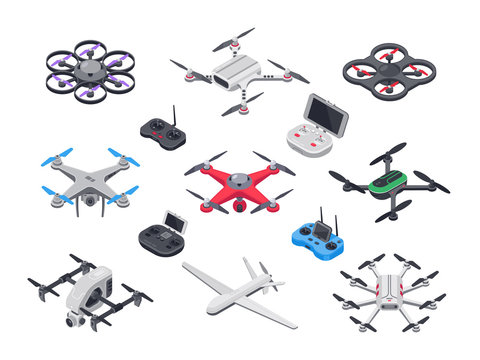 Unmanned aircraft, delivery drone with propellers, camera and computer controller. Drones and controllers isolated vector isometric set