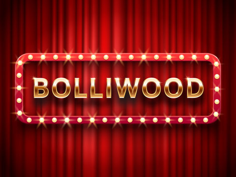 Bollywood cinema. Vintage indian movie, cinematography and theater poster. Retro 3d classic film posters logo on red curtains vector template