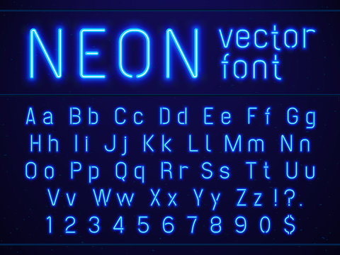 Bright glowing blue neon alphabet letters and numbers font. Nightlife entertainments, modern bars, casino illuminated vector signs
