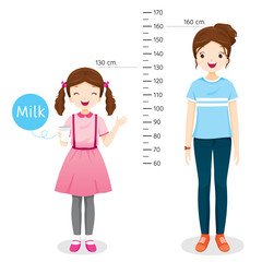Girl Drinking Milk For Health. Milk Makes Her Taller. Girl Measuring Height With Woman, Tall, Healthy, Care, People, Lifestyle