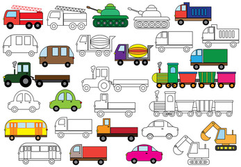 Transport. Set of cars. Coloring book. Vector illustration.