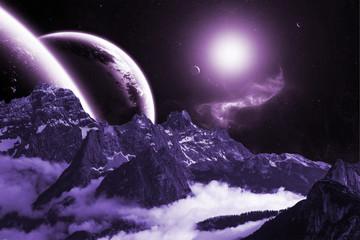 Berge Planet Sterne Lila