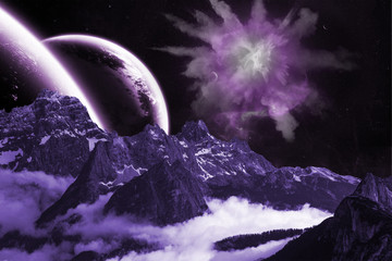 Berge Planet Sterne explosion Rauch