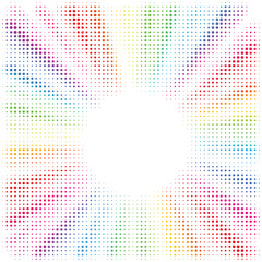 Rainbow burst background. Halftone effect. Abstract radial, convergent lines isolated on white. Explosion, radiation, zoom, visual effect. Sun or star rays in pop art style. 80 s style banner design