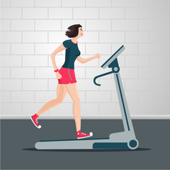 Young woman is running on a treadmill. Indoor exercise cartoon flat illustration. Sport people vector clipart.