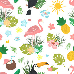 Seamless vector cartoon doodle pattern. Exotic tropical texture for printing, web design, poster template. Collection of funny elements