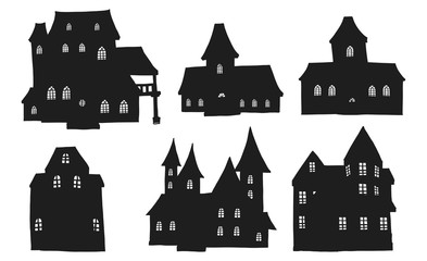 Set of halloween house.House vector by hand drawing