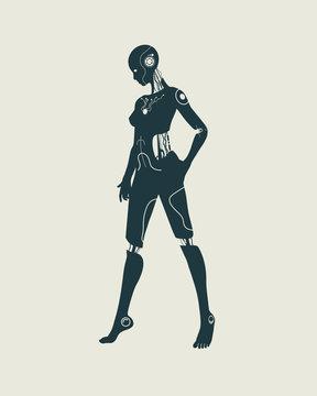 Humanoid robot silhouette. Robotics industry relative image.