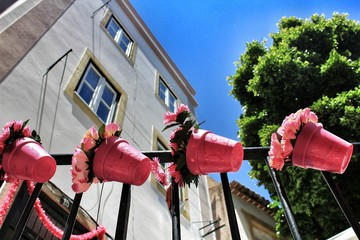 Streets adorned with garlands in Alfama, Lisbon