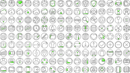 Wall Mural - Black and green business thin line icons set on white background
