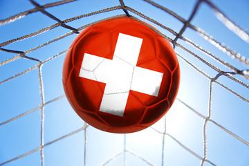 Fotoväggar - Fussball mit schweizerischer Flagge