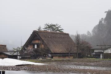 Rain Snow Foggy Season Traditional House and Village Farm Shirakawago Gifu Prefecture in Japan