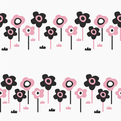 Seamless pattern with cute flowers and decorative elements in scandinavian style at garden field. Hand drawn design. For kids,nursery,wrapping or textile