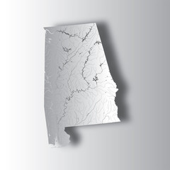 U.S. states - map of Alabama with paper cut effect. Please look at my other images of cartographic series - they are all very detailed and carefully drawn by hand WITH RIVERS AND LAKES.