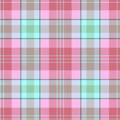 Tartan seamless pattern. Mint and pink plaid. Tartan flannel background. Trendy tiles Illustration for wallpapers