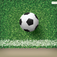 Soccer football ball in soccer field pattern and texture background. Vector.