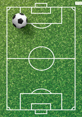 Soccer football ball on green grass of soccer field with line pattern and grass texture background. Vector.