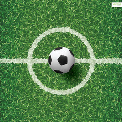 Soccer football ball on green grass of soccer field pattern and texture background with center line area. Vector.