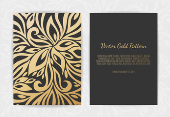 Set of Black and Gold Design Templates for Brochures, Flyers, Logo, Banners. Abstract Modern Backgrounds.