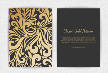 Gold greeting card on a black background. Luxury ornament template.