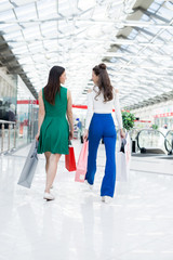 Rear view of carefree young woman in stylish outfit talking and walking over shopping mall while making purchases together