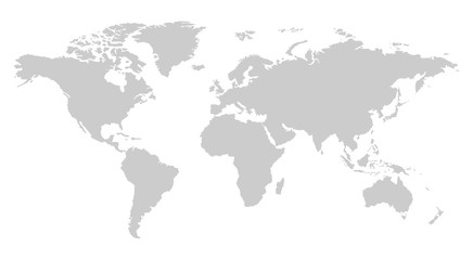 one color grey world map isolated on transparent background. World vector illustration - fototapety na wymiar