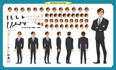 People character business set. Front, side, back view animated character.   Businessman character creation set with various views, face emotions, poses and gestures