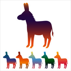Donkey icon, gradient silhouette on white background