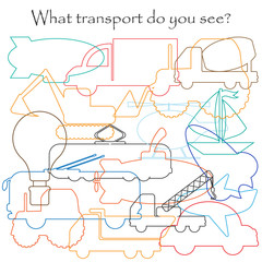 Find hidden objects on the picture, transport theme, mishmash contour set, fun education game for kids, preschool activity for children, vector illustration