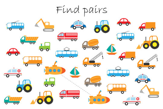 Find pairs of identical pictures, fun education game with different transport for children, preschool worksheet activity for kids, task for the development of logical thinking, vector illustration