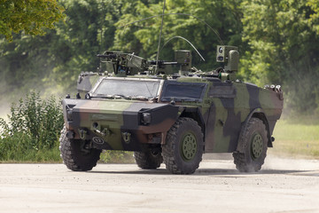 German light armoured reconnaissance vehicle drives on a road