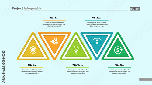 Five Step Triangle Infographic Template Business Data Process Layout Design Creative