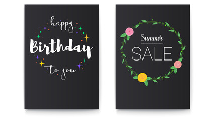 Set of Happy Birthday and Summer sale posters with lettering design. Poster with pictures of flowers with foliage and hand-drawn elements. Calligraphy for prints, posters, invitations