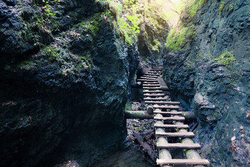 Rocky canyon with mountain river and a wooden staircase.