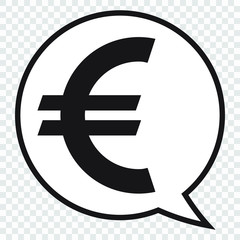 Euro symbol in speech bubble, vector icon