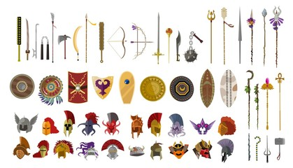 videogame weapons helmets spears bow and shields icons