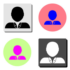 Person. simple flat vector icon illustration on four different color backgrounds