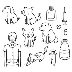 vector set of veterinarian, animal and equipment